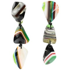Sobral Oversized Dangling Clip Earrings Multicolor Striped Resin Pebbles