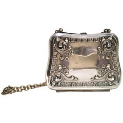 "Antique German Art Nouveau Sterling Silver ""Dance Purse"" Evening Bag"