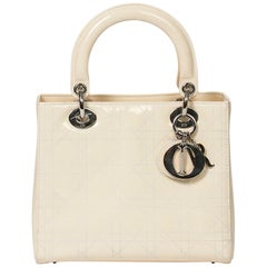Dior Lady MM Ivory Calf Leather