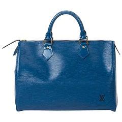Louis Vuitton Speedy 25 Blue Calf Leather
