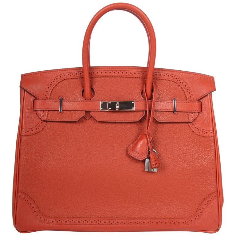 Hermes Birkin Ghillies - brique red