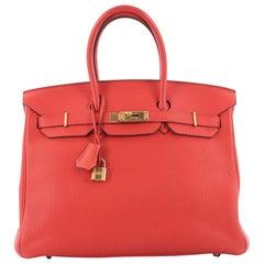 Hermes Birkin Handbag Feu Togo with Gold Hardware 35