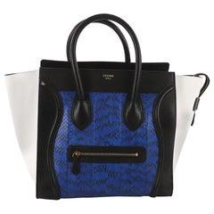 Celine Tricolor Luggage Handbag Python and Leather Mini