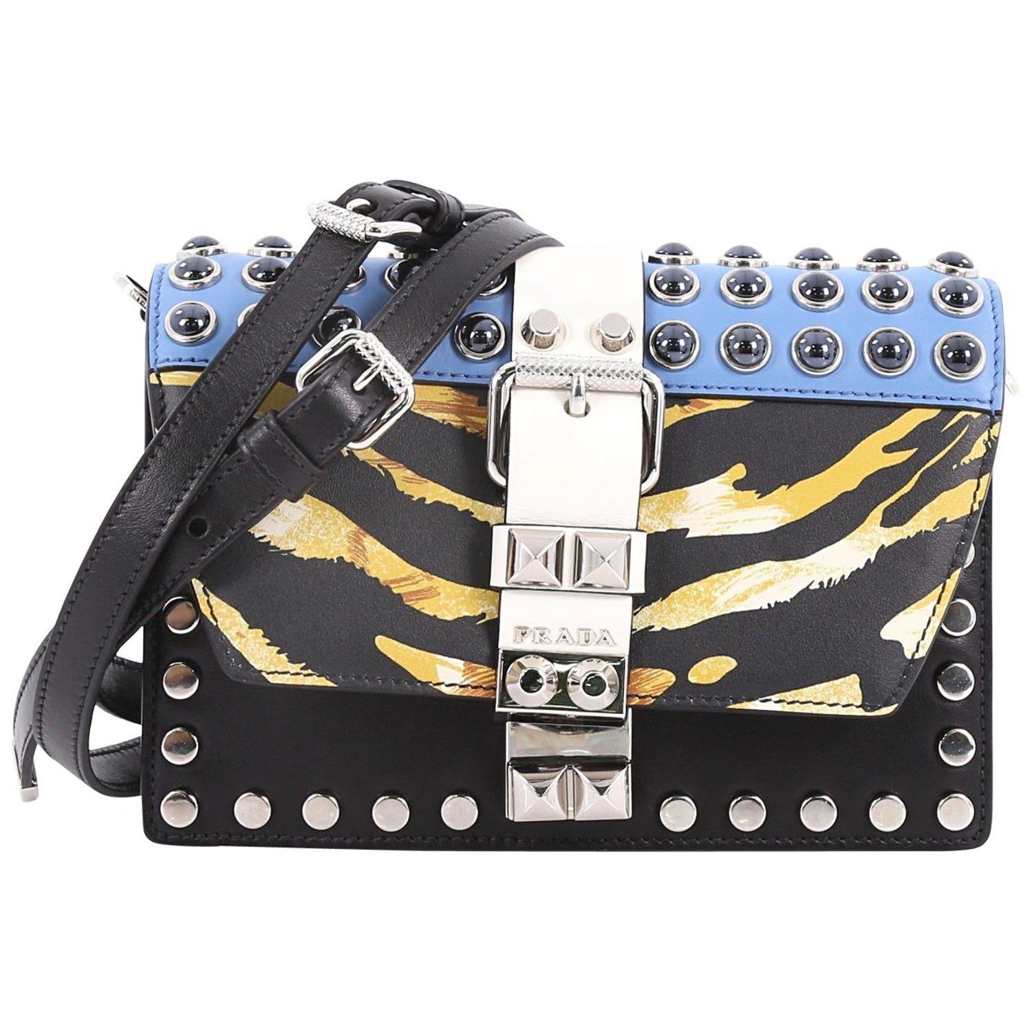 522ec6ad725e Prada Elektra Small Studded Printed Leather Shoulder Bag at 1stdibs