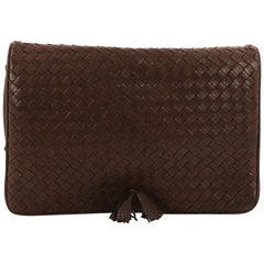 Bottega Veneta Tassel Flap Clutch Intrecciato Nappa Medium
