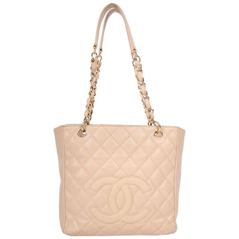 Chanel mini shopper - beige caviar leather
