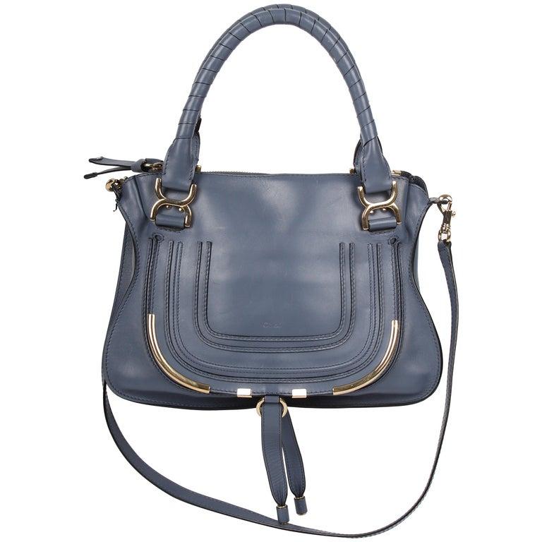 Chloe Grey / Blue Leather Marcie Bag