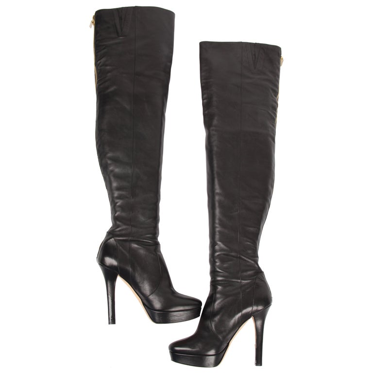 Jimmy Choo black Over knee Platform Boots For Sale