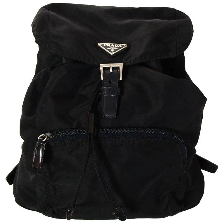 1e84101c2c19e9 Prada Vintage Black Drawstring Nylon Backpack Bag w/ Front Zipper Pocket  For Sale