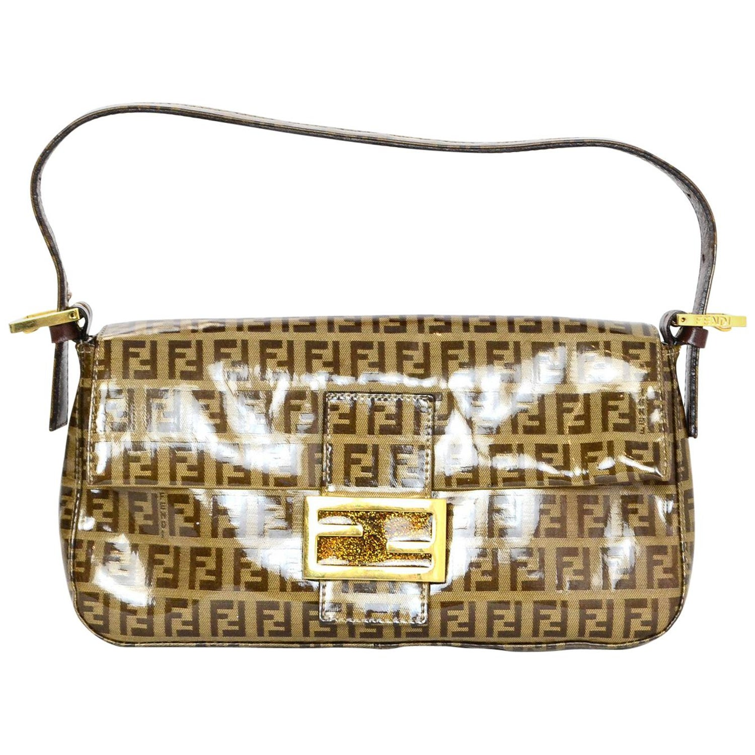 a55117aca3 Fendi Tan Coated Canvas Monogram Zucca Baguette Bag w  Gold Glitter Logo  Buckle at 1stdibs