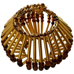 William de Lillo Vintage Geometric Gold-Tone Modernist Bracelet