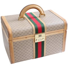 Gucci Train Case with Mirror & Lock GG Logo Canvas Webbing & Leather Travel Bag