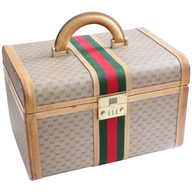 Gucci Train Case with Mirror & Lock GG Logo Canvas Webbing & Leather Travel Bag For Sale