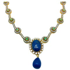 Meghna Jewels Handmade Faux Lapis And Tsavorite Necklace