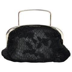 Dolce & Gabbana Black Sheer Floral Lace Top Handle Mini Bag with Dust Bag