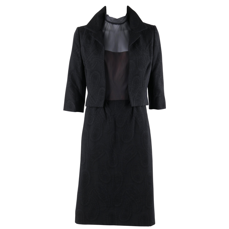 HARVEY BERIN c.1960's 2 Pc Paisley Jacquard Jacket Illusion Top Dress Suit Set