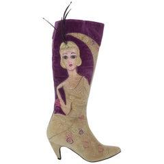 Hand Painted L'Autre Chose Velvet Flapper Girl Boots Sz 38