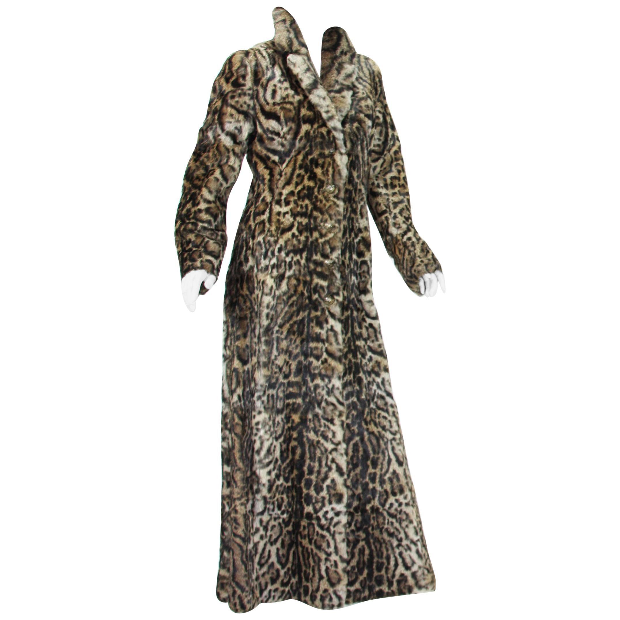 New Roberto Cavalli Runway F/W 2016 Collection Fur Long Leopard Print Coat  42