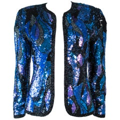 Abstract Sequin Vintage Jacket with Beaded Trim