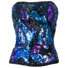 Blue Purple Lavender Vintage Abstract Sequin Bustier