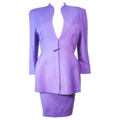 THEIRRY MUGLER Fred Heyman Lavender 2pc Skirt Suit with Abstract Closure Size 42