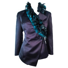 POL ATTEU Satin Evening Jacket with Iridescent Feather Collar Trim Size 12