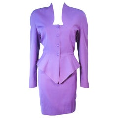 THEIRRY MUGLER Purple Peplum Skirt Suit Size 44 42