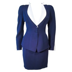 THEIRRY MUGLER Navy  & White Contrast Skirt Suit with Cutouts Size 36 38
