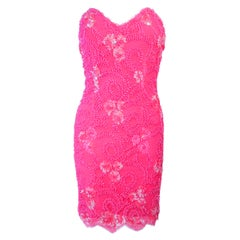PAMELA DENNIS Pink Beaded Lace Cocktail Dress Size M
