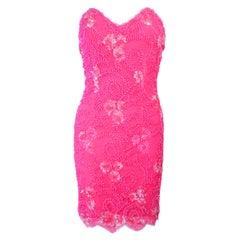 PAMELA DENNIS Pink Beaded Lace Cocktail Dress Size M