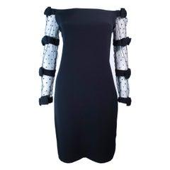 FRED HEYMAN Beverly Hills Black Silk Cocktail Dress Polka Dot Mesh Sleeves 2 4