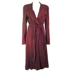 YVES SAINT LAURENT Brown Suede Drape Coat with Belt Size 44