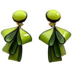 Chartreuse Ribbon Earrings by Cilea Paris