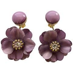 Cilea Paris Oversized Lavender Flower Dangle Earrings