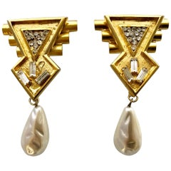 Vintage Ugo Correani 1980's Geometric Pearl Drop Earrings