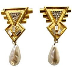 Vintage Ugo Correani 1980's Geometric Architectural Pearl Drop Earrings