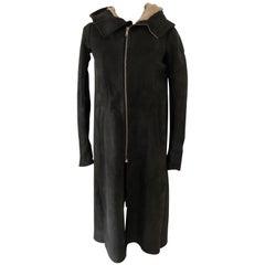 Rick Owens Long Shearling Coat Size S.