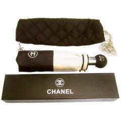 Chanel Tan & Black Nylon Umbrella in Chanel Box Circa 21st C