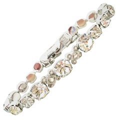 20th Century Silver & Swarovski Crystal Link Tennis Bracelet By, Eisenberg Ice