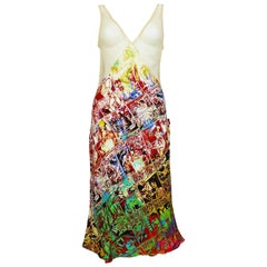 Jean Paul Gaultier Comic Cartoon Print Mesh Dress US Size 8