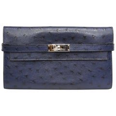 HERMES Ostrich Kelly Longue Wallet Bleu Roi