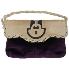 1960's Greta Deep Plum & Beige Velvet Handbag Clutch With Trompe L'oeil Lock