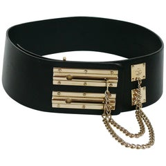 Chanel Spring 2002 Black Leather Sliding Chain Lock Runway Belt