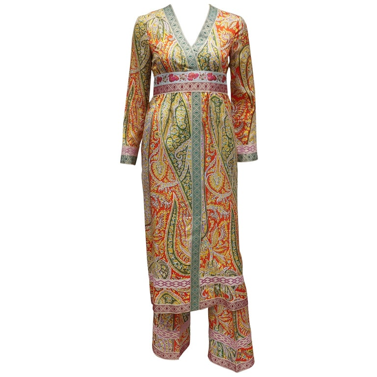 Eloise Curtis Exotic Mod Paisley Tunic Dress and Pant Suit, 1960s  For Sale