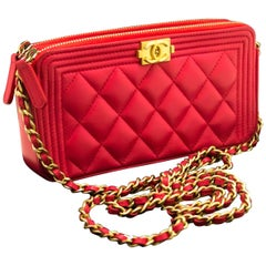 CHANEL Boy Hot Pink Wallet On Chain WOC W Zip Chain Shoulder Bag