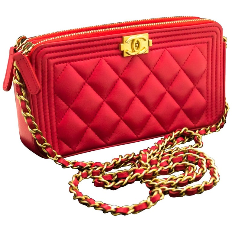 45f322fb1409 CHANEL Boy Hot Pink Wallet On Chain WOC W Zip Chain Shoulder Bag For Sale