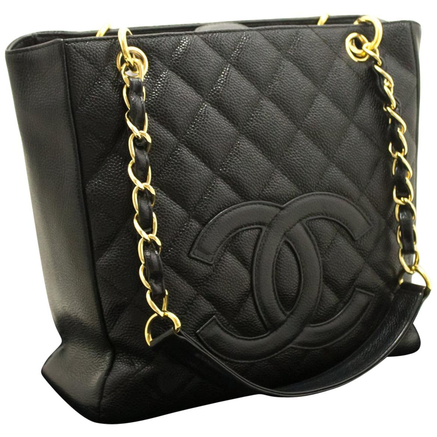 9f6f76024f93ae CHANEL Caviar PST Chain Shoulder Bag Shopping Tote Black Quilted at 1stdibs