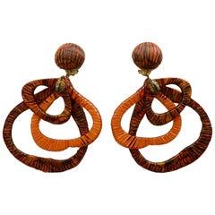 Cilea Paris Orange Leaf Earrings