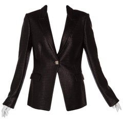 Versace Collection Black Textured Silver Medusa Button Blazer Jacket