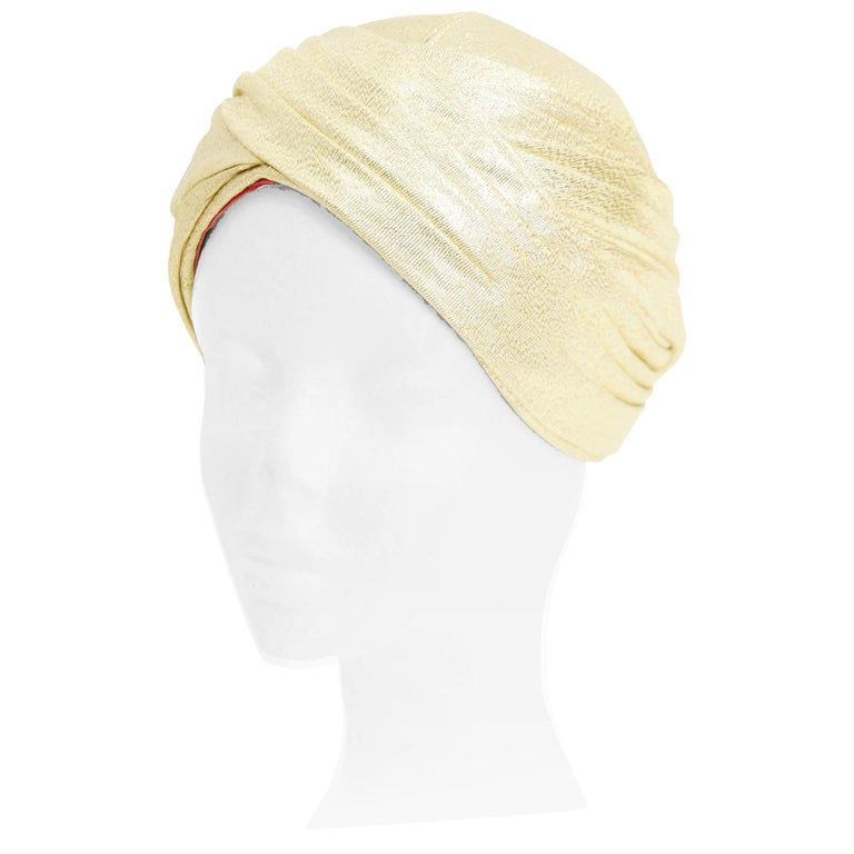 Pierre Cardin Gold Metallic Turban, 1950s  For Sale